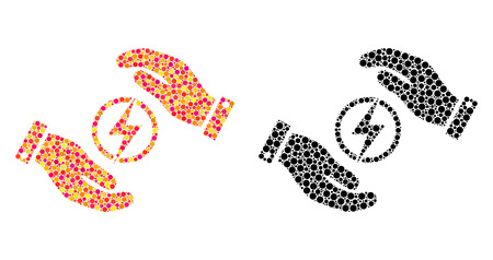 Pixel electric energy insurance hands mosaic icons. Vector electric energy insurance hands icons in bright and black versions. Collages of different round dots.