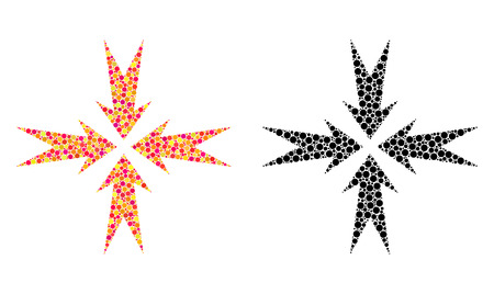 Dotted compression arrows mosaic icons. Vector compression arrows icons in bright and black versions. Collages of arbitrary round spots. Illustration