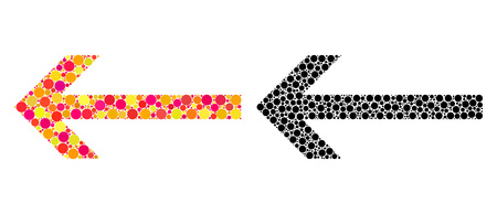 Dotted arrow left mosaic icons. Vector arrow left icons in colorful and black versions. Collages of arbitrary spheric spots. Vector concepts of arrow left icons constructed of irregular spots. Çizim