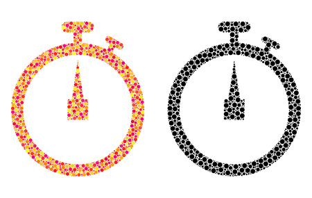 Dot stopwatch mosaic icons. Vector stopwatch pictograms in bright and black versions. Collages of irregular spheric elements. Vector compositions of stopwatch icons done of irregular small circles. Stock fotó - 126814902