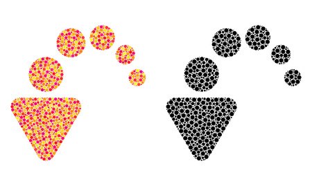 Dotted undo mosaic icons. Vector undo icons in colorful and black versions. Collages of randomized round dots. Vector collages of undo images made of different round pixels. Illusztráció