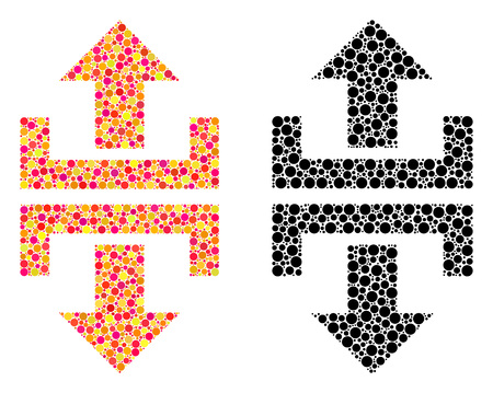 Pixel divide vertical direction mosaic icons. Vector divide vertical direction pictograms in multi-colored and black versions. Collages of random round elements. Stock fotó - 126814905
