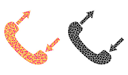 Dotted phone talking mosaic icons. Vector phone talking icons in colorful and black versions. Collages of different round dots. Vector concepts of phone talking icons done of variable round elements. Illusztráció