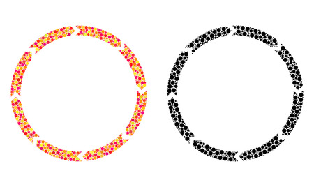 Pixel rotation mosaic icons. Vector rotation icons in bright and black versions. Collages of randomized spheric spots. Vector collages of rotation icons composed of scattered spheric particles.
