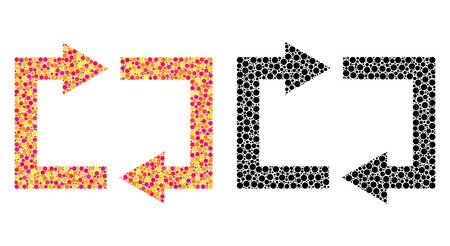 Dot exchange arrows mosaic icons. Vector exchange arrows icons in multi-colored and black versions. Collages of irregular round dots. Illusztráció