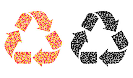 Pixel recycle mosaic icons. Vector recycle icons in colorful and black versions. Collages of different spheric elements. Vector collages of recycle icons done of scattered spots. Illusztráció