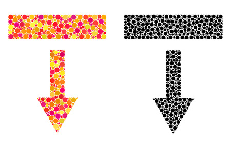 Dot pull down mosaic icons. Vector pull down icons in bright and black versions. Collages of random circle spots. Vector concepts of pull down icons combined of random round dots. Ilustração