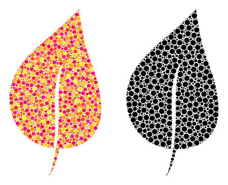 Dot plant leaf mosaic icons. Vector plant leaf icons in multi-colored and black versions. Collages of different circle spots. Illusztráció