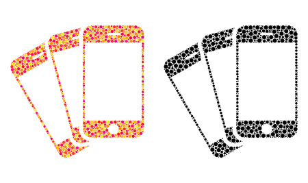 Pixel mobile phones mosaic icons. Vector mobile phones icons in multi-colored and black versions. Collages of casual spheric dots. Vector collages of mobile phones icons done of variable dots.