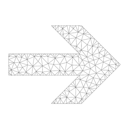 Mesh vector arrow right icon on a white background. Polygonal wireframe gray arrow right image in lowpoly style with combined triangles, dots and linear items.