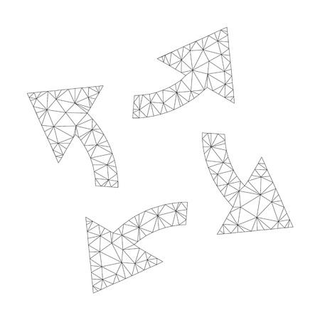 Mesh vector centrifugal arrows icon on a white background. Mesh carcass grey centrifugal arrows image in lowpoly style with structured triangles, dots and linear items. Illustration