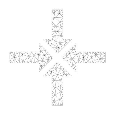 Icône de flèches de compression vectorielle polygonale sur fond blanc. La carcasse polygonale grise compresse l'image des flèches dans un style low poly avec des triangles, des nœuds et des lignes connectés.