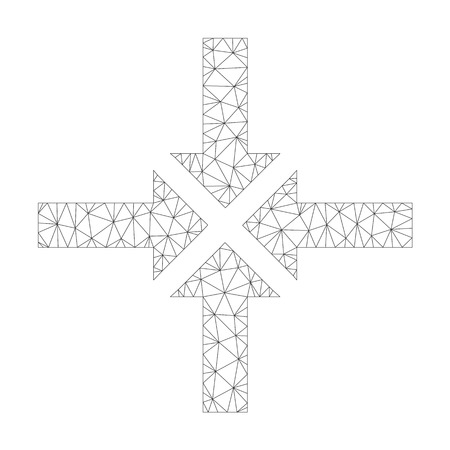 Polygonal vector compress arrows icon on a white background. Polygonal carcass gray compress arrows image in low poly style with connected triangles, nodes and lines.