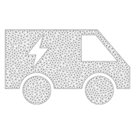 Polygonal vector electric power car icon on a white background. Polygonal wireframe gray electric power car image in low poly style with connected triangles, dots and lines.