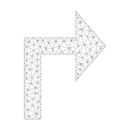 Mesh vector turn right icon on a white background. Mesh carcass grey turn right image in low poly style with organized triangles, nodes and lines.