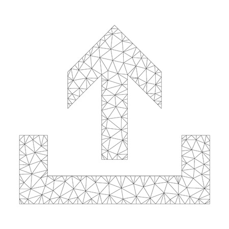 Polygonal vector upload icon on a white background. Polygonal wireframe gray upload image in low poly style with combined triangles, points and lines.