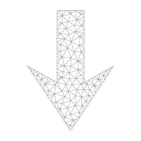 Mesh vector arrow down icon on a white background. Polygonal carcass grey arrow down image in low poly style with organized triangles, points and linear items.