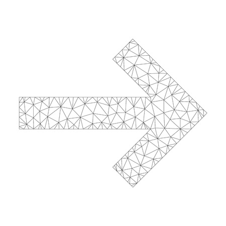 Polygonal vector arrow right icon on a white background. Mesh carcass grey arrow right image in low poly style with organized triangles, dots and linear items.