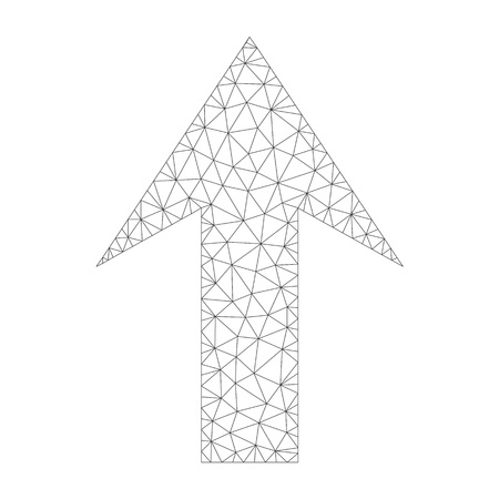 Polygonal vector arrow up icon on a white background. Mesh wireframe dark gray arrow up image in lowpoly style with organized triangles, points and lines.