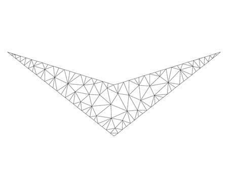 Mesh vector arrowhead down icon on a white background. Polygonal carcass dark gray arrowhead down image in lowpoly style with combined triangles, dots and lines.