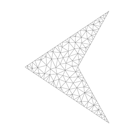 Polygonal vector arrowhead left icon on a white background. Mesh carcass dark gray arrowhead left image in lowpoly style with organized triangles, nodes and linear items.