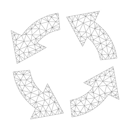 Mesh vector circulation icon on a white background. Polygonal wireframe dark gray circulation image in lowpoly style with combined triangles, nodes and linear items. Illustration
