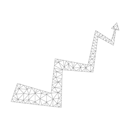 Polygonal vector curve arrow icon on a white background. Mesh carcass grey curve arrow image in low poly style with combined triangles, dots and linear items.