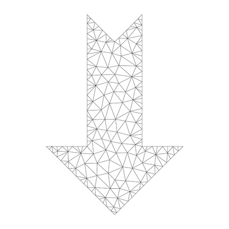 Polygonal vector arrow down icon on a white background. Polygonal carcass grey arrow down image in low poly style with structured triangles, points and lines.
