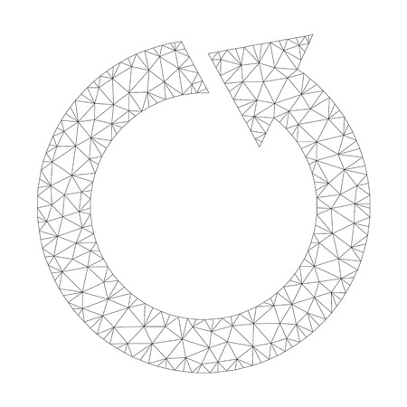 Mesh vector rotate ccw icon on a white background. Polygonal wireframe gray rotate ccw image in low poly style with structured triangles, points and linear items.