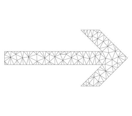 Polygonal vector arrow right icon on a white background. Polygonal carcass grey arrow right image in lowpoly style with connected triangles, dots and lines. Vettoriali