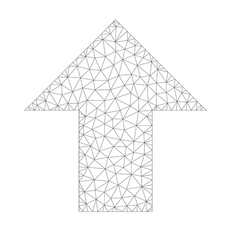 Mesh vector arrow up icon on a white background. Mesh carcass grey arrow up image in lowpoly style with organized triangles, nodes and lines. Иллюстрация