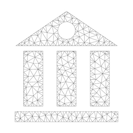 Polygonal vector bank building icon on a white background. Polygonal wireframe dark gray bank building image in low poly style with connected triangles, points and linear items. Vettoriali