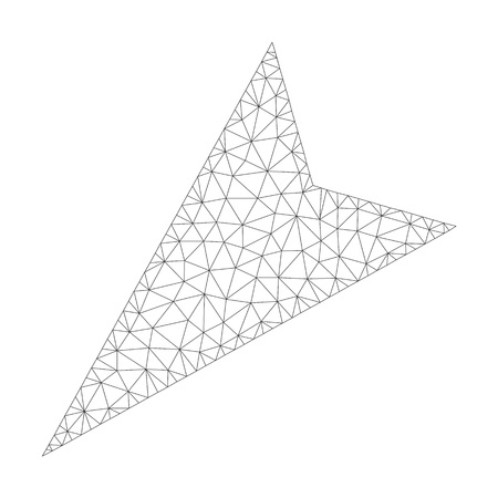 Polygonal vector arrowhead left-down icon on a white background. Polygonal carcass gray arrowhead left-down image in low poly style with structured triangles, dots and linear items.