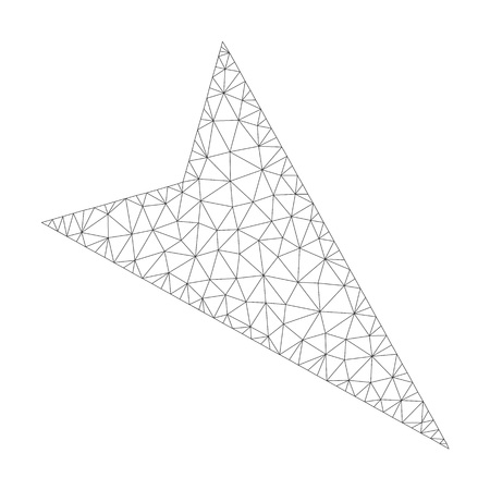 Mesh vector arrowhead right-down icon on a white background. Mesh carcass dark gray arrowhead right-down image in lowpoly style with organized triangles, nodes and lines.
