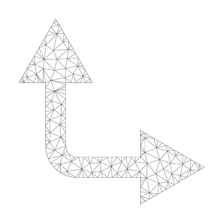 Polygonal vector bifurcation arrow right up icon on a white background. Polygonal carcass grey bifurcation arrow right up image in lowpoly style with connected triangles, dots and linear items. Vettoriali