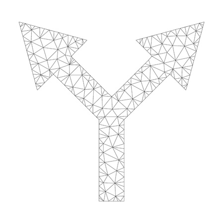Polygonal vector bifurcation arrow up icon on a white background. Polygonal wireframe grey bifurcation arrow up image in low poly style with structured triangles, dots and lines.