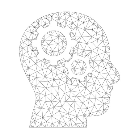 Mesh vector brain gears icon on a white background. Polygonal carcass gray brain gears image in low poly style with connected triangles, points and linear items. Vettoriali
