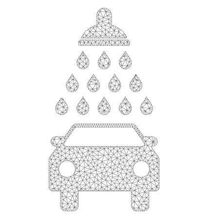 Polygonal vector car shower icon on a white background. Polygonal carcass dark gray car shower image in lowpoly style with combined triangles, dots and linear items. Illustration