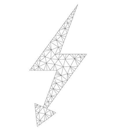 Mesh vector electric strike icon on a white background. Mesh wireframe gray electric strike image in lowpoly style with organized triangles, dots and linear items. Vettoriali