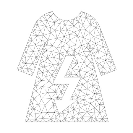 Mesh vector electric woman dress icon on a white background. Polygonal wireframe grey electric woman dress image in low poly style with structured triangles, dots and linear items. Vettoriali