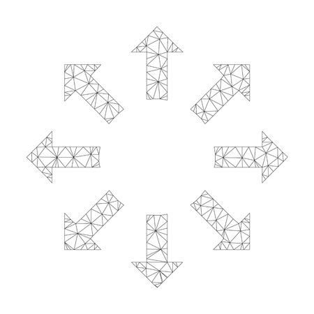 Mesh vector expand arrows icon on a white background. Polygonal carcass grey expand arrows image in low poly style with organized triangles, points and lines. 向量圖像