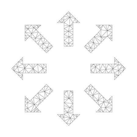 Mesh vector explode arrows icon on a white background. Mesh carcass gray explode arrows image in lowpoly style with connected triangles, nodes and lines.