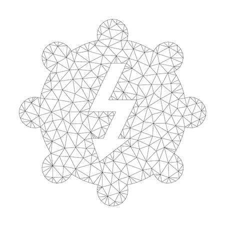 Mesh vector electricity cog wheel icon on a white background. Mesh carcass dark gray electricity cog wheel image in low poly style with combined triangles, nodes and linear items.