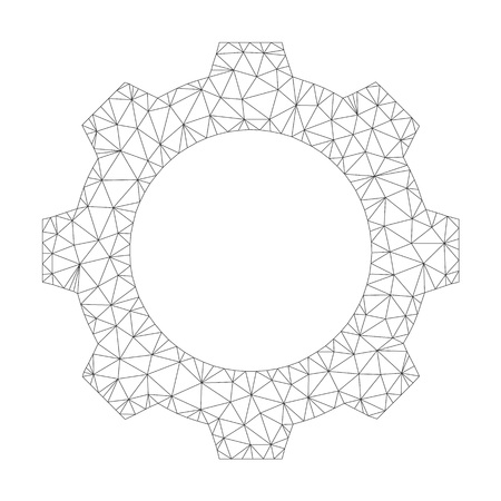 Polygonal vector gear icon on a white background. Mesh wireframe grey gear image in lowpoly style with combined triangles, nodes and linear items.