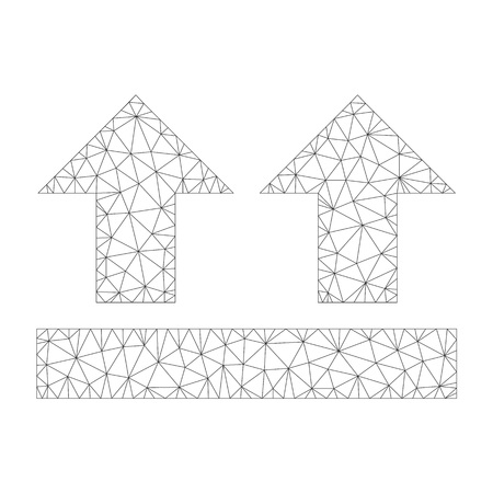 Polygonal vector bring up icon on a white background. Mesh wireframe gray bring up image in low poly style with combined triangles, points and linear items.