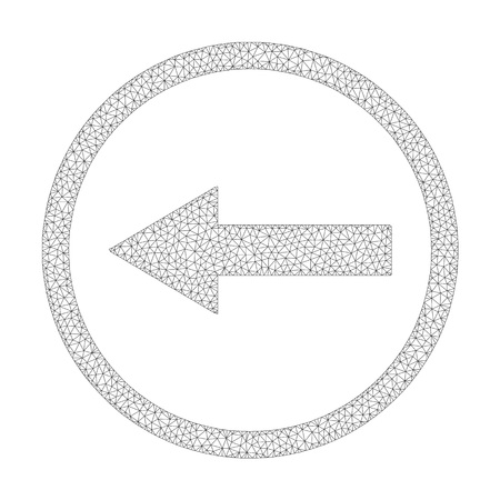 Polygonal vector left rounded arrow icon on a white background. Mesh wireframe gray left rounded arrow image in low poly style with structured triangles, nodes and lines. Vettoriali