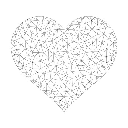 Mesh vector love heart icon on a white background. Polygonal carcass gray love heart image in lowpoly style with connected triangles, points and lines.