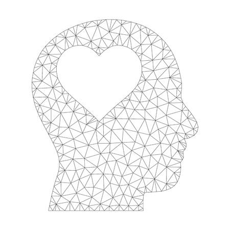 Wielokątne wektor kochanka głowa ikona na białym tle. Wielokątny, szary, szkieletowy obraz głowy kochanka w stylu low poly z uporządkowanymi trójkątami, punktami i elementami liniowymi.