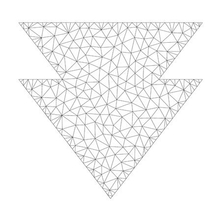 Polygonal vector move down icon on a white background. Mesh wireframe dark gray move down image in low poly style with structured triangles, points and lines. Vettoriali