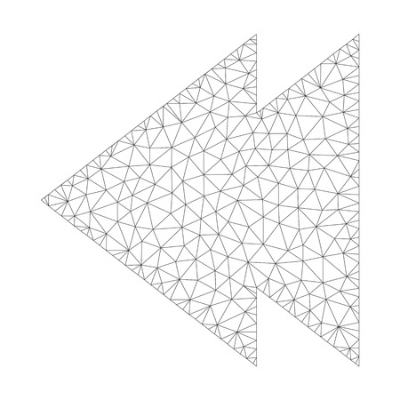 Mesh vector move left icon on a white background. Mesh wireframe gray move left image in low poly style with structured triangles, nodes and lines. Vettoriali